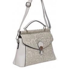 На фото 1 - Женская сумка из экокожи с ажурным цветочным принтом, цвет светло-серый