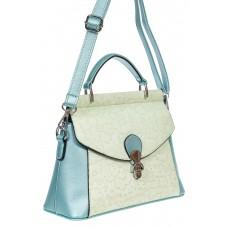 На фото 1 - Женская сумка из экокожи с ажурным цветочным принтом, цвет светло-бирюзовый