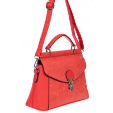 На фото 1 - Женская сумка из экокожи с ажурным цветочным принтом, цвет красный