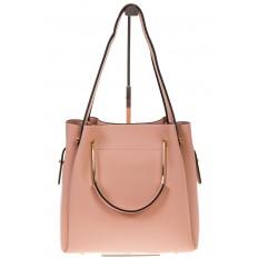 На фото 2 - Сумка-мешок из искусственной кожи розового цвета 9375MJ5