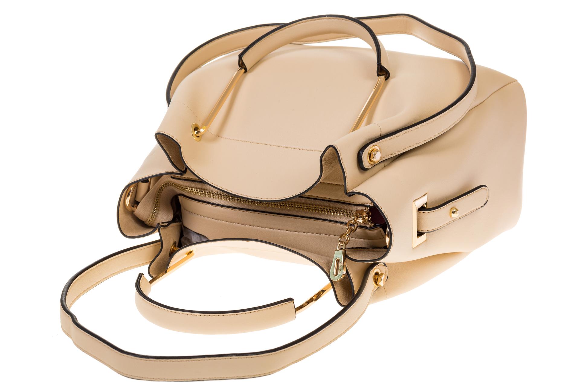 На фото 4 - Сумка-мешок из искусственной кожи молочного цвета 9375MJ5