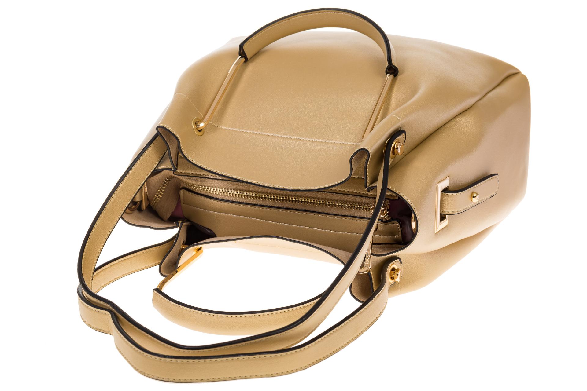 На фото 4 - Сумка-мешок из искусственной кожи золотистого цвета 9375MJ5
