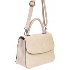 На фото 1 - Небольшая женская сумка из экокожи с ажурным цветочным принтом, молочная