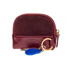 На фото 1 - Женская ключница из натуральной кожи и замши, цвет бордо