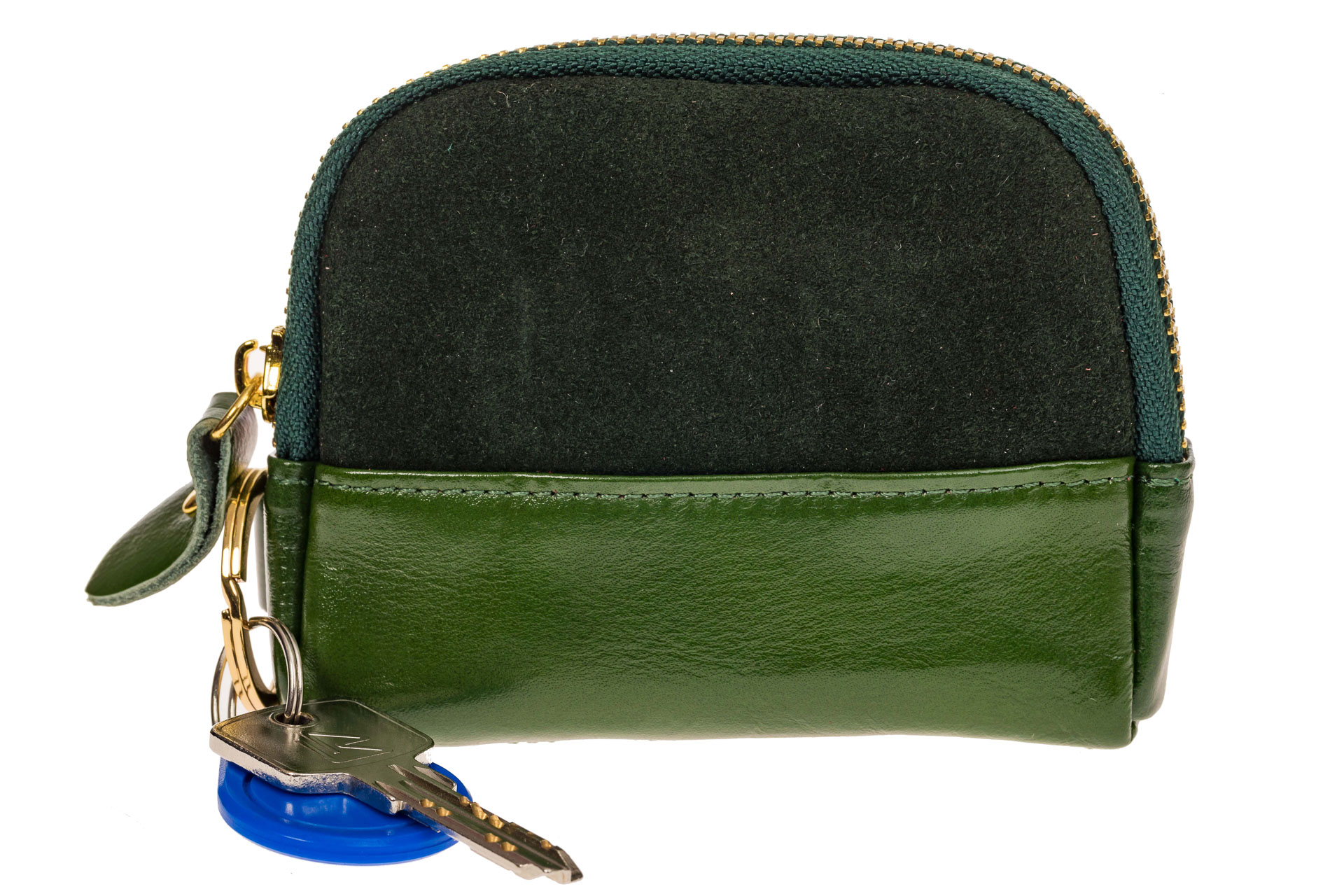 На фото 2 - Женская ключница из натуральной кожи и замши, цвет зеленый