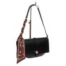 На фото 1 - Женская сумка-седло из искусственной кожи с твилли, чёрная
