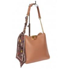 На фото 1 - Женская сумка тоут из искусственной кожи с твилли, цвет пудровый