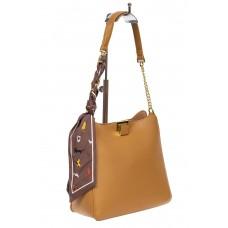 На фото 1 - Женская сумка тоут из искусственной кожи с твилли, цвет светлая охра