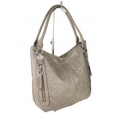 На фото 1 - Женская сумка-мешок из экокожи, цвет серо-бежевый