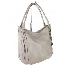 На фото 1 - Женская сумка-мешок из экокожи, цвет серый