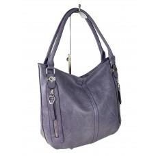 На фото 1 - Женская сумка-мешок из экокожи, цвет фиолетовый