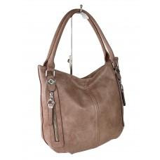 На фото 1 - Женская сумка-мешок из экокожи, цвет пыльная роза