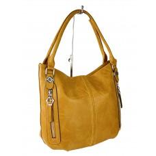 На фото 1 - Женская сумка-мешок из экокожи, цвет жёлто-оранжевый