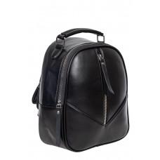 На фото 1 - Рюкзак женский из гладкой экокожи, цвет чёрный