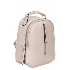 На фото 1 - Рюкзак женский из гладкой экокожи, цвет кремовый