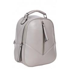 На фото 1 - Рюкзак женский из гладкой экокожи, цвет серый