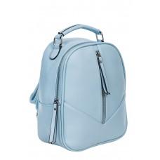 На фото 1 - Рюкзак женский из гладкой экокожи, цвет голубой