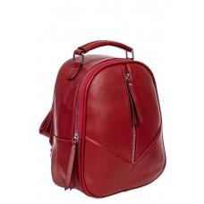 На фото 1 - Рюкзак женский из гладкой экокожи, цвет бордовый
