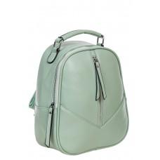 На фото 1 - Рюкзак женский из гладкой экокожи, цвет светло-зелёный