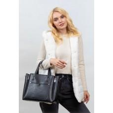 На фото 1 -  Женская сумка тоут из гладкой экокожи, цвет черный