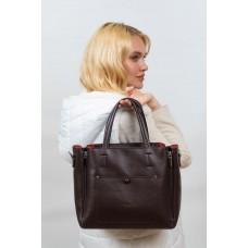 На фото 1 -  Женская сумка тоут из гладкой экокожи, цвет шоколад