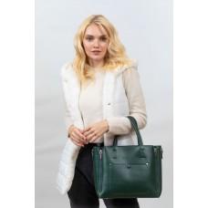 На фото 1 -  Женская сумка тоут из гладкой экокожи, цвет зеленый