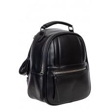 На фото 1 - Женский рюкзак из гладкой искусственной кожи, цвет чёрный