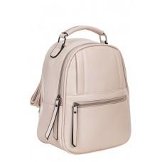 На фото 1 - Женский рюкзак из гладкой искусственной кожи, цвет кремовый