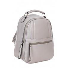 На фото 1 - Женский рюкзак из гладкой искусственной кожи, цвет серый