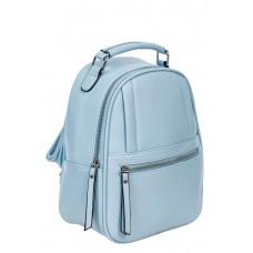 На фото 1 - Женский рюкзак из гладкой искусственной кожи, цвет голубой