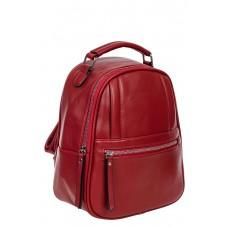 На фото 1 - Женский рюкзак из гладкой искусственной кожи, цвет бордовый