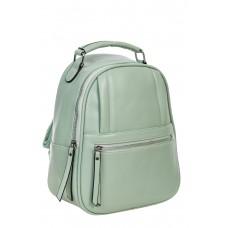 На фото 1 - Женский рюкзак из гладкой искусственной кожи, цвет светло-зелёный