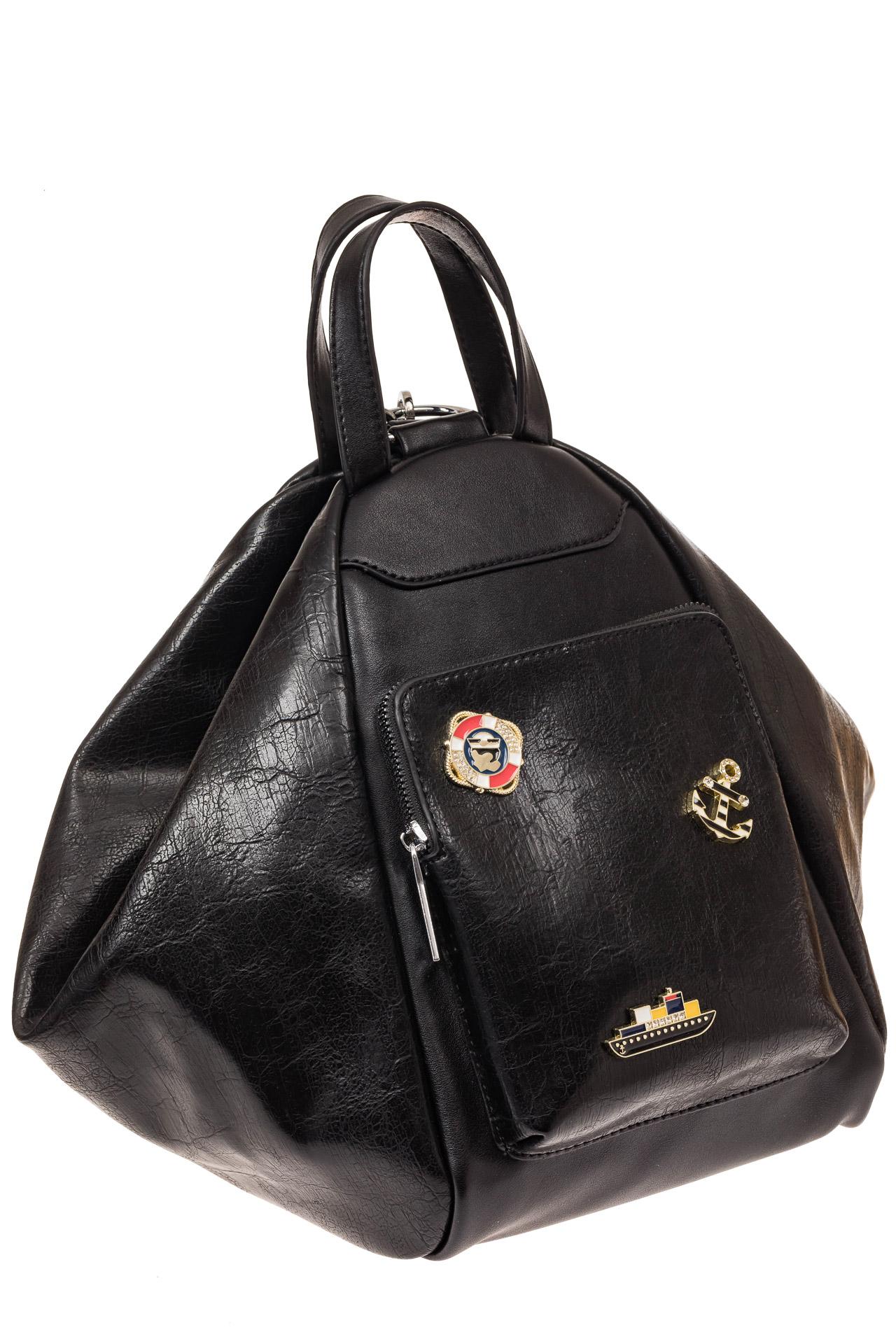 На фото 1 - Рюкзак-трансформер-шоппер из искусственной кожи, цвет черный