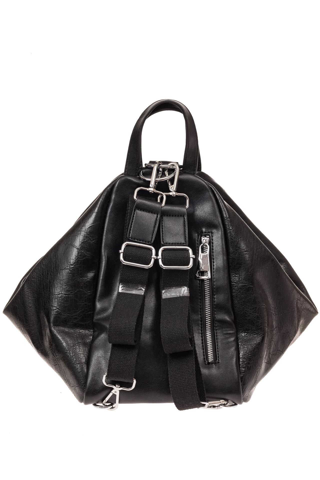 На фото 2 - Рюкзак-трансформер-шоппер из искусственной кожи, цвет черный