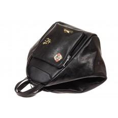 На фото 3 - Рюкзак-трансформер-шоппер из искусственной кожи, цвет черный