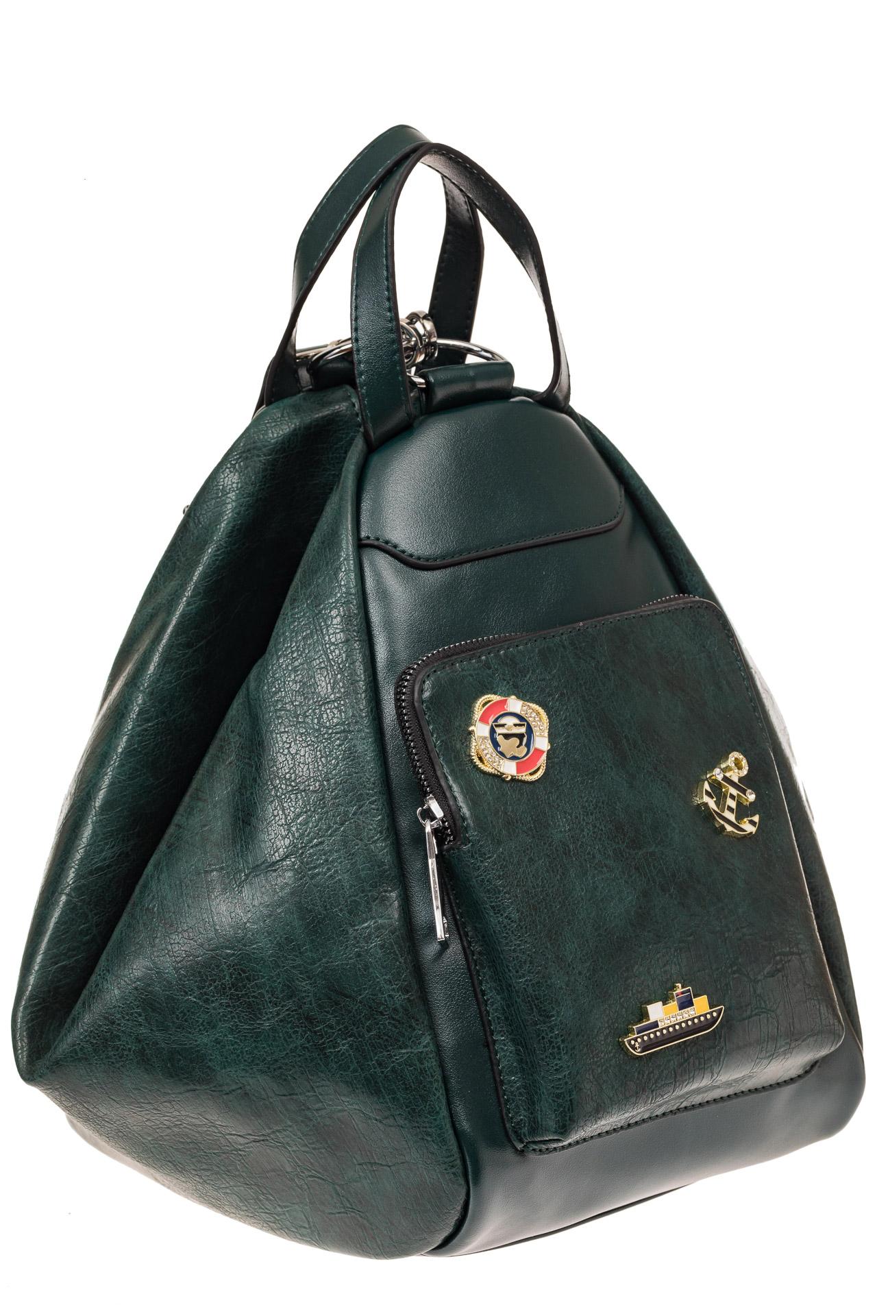 На фото 1 - Рюкзак-трансформер-шоппер из искусственной кожи, цвет зеленый