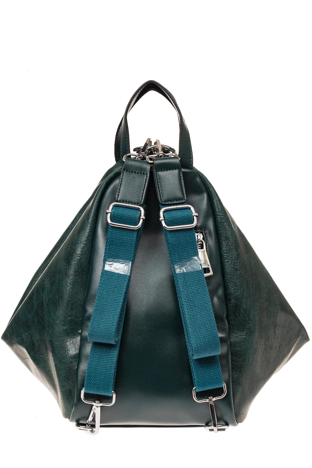 На фото 2 - Рюкзак-трансформер-шоппер из искусственной кожи, цвет зеленый