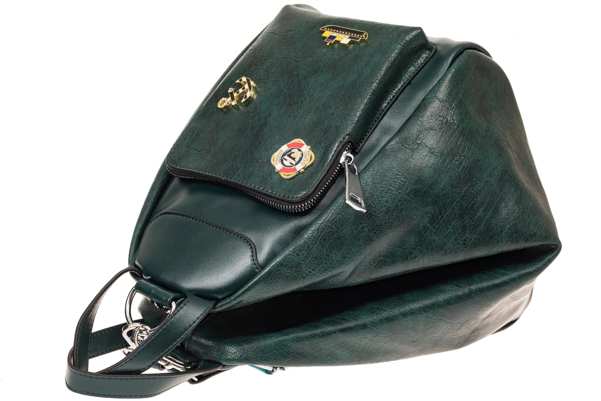 На фото 3 - Рюкзак-трансформер-шоппер из искусственной кожи, цвет зеленый