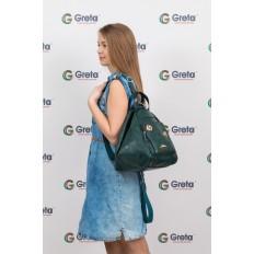 На фото 4 - Рюкзак-трансформер-шоппер из искусственной кожи, цвет зеленый
