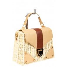 На фото 1 - Плетеная сумка-коробочка из ротанга с элементами из экокожи, цвет слоновой кости
