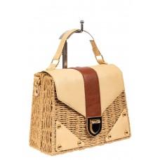 На фото 1 - Плетеная сумка-коробочка из ротанга с элементами из экокожи, цвет крафт