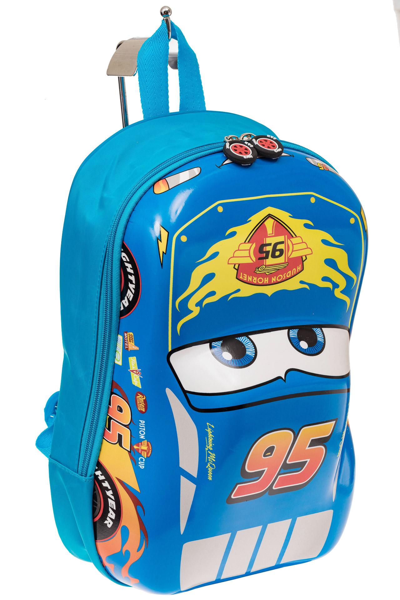 На фото 1 - Детский рюкзак-машинка из текстиля, цвет синий