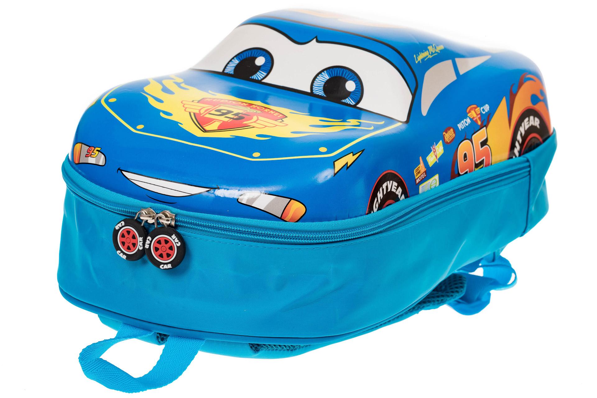 На фото 3 - Детский рюкзак-машинка из текстиля, цвет синий