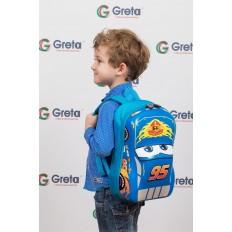 На фото 4 - Детский рюкзак-машинка из текстиля, цвет синий