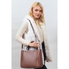 На фото 1 - Женская сумка тоут из гладкой экокожи, цвет коричневый