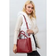 На фото 1 - Женская сумка тоут из гладкой экокожи, цвет красный