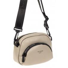 На фото 1 - Кожаная женская сумка-малышка, цвет серый