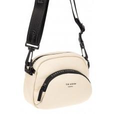 На фото 1 - Женская сумка-малышка из натуральной кожи, цвет белый