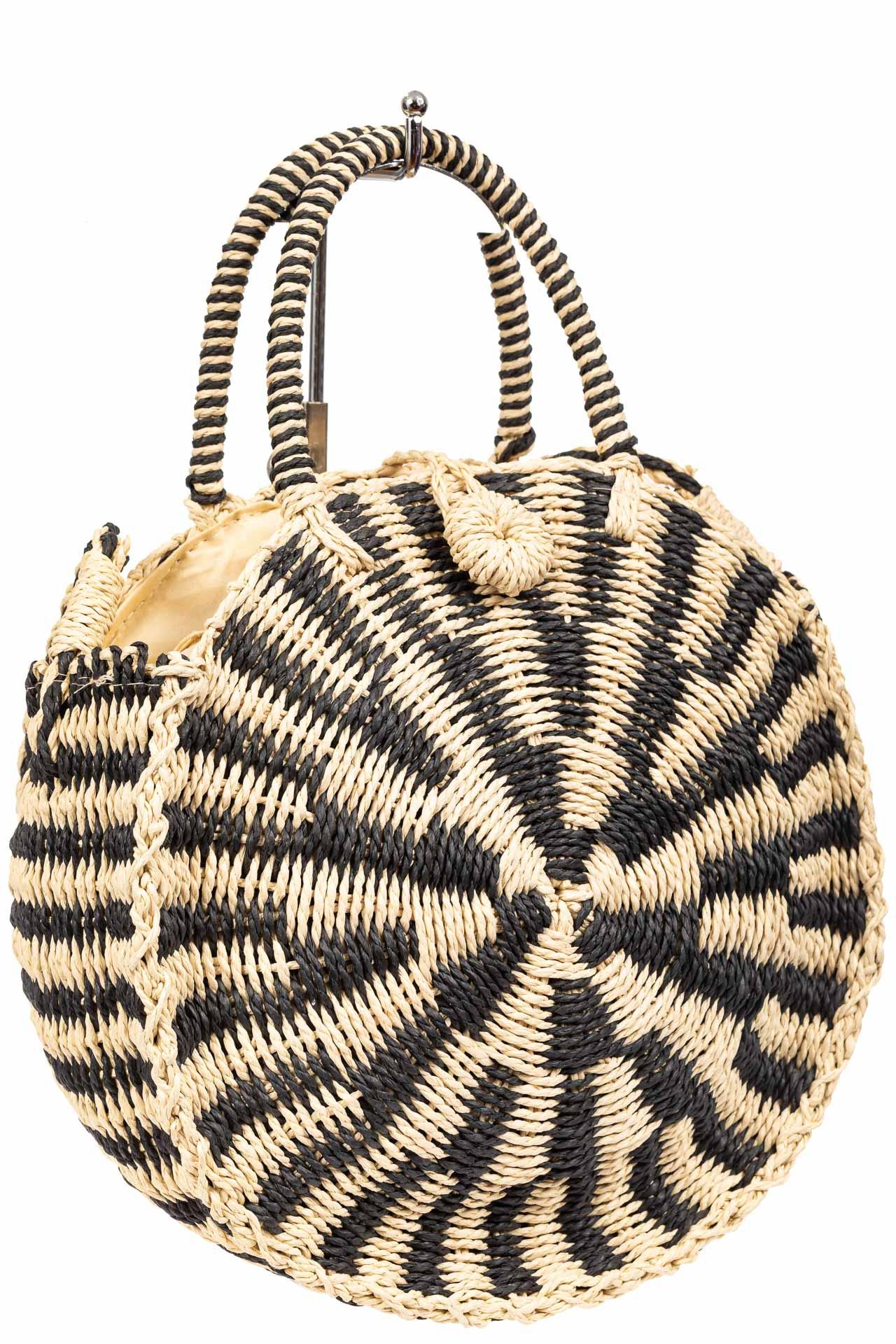 Круглая плетеная сумка из соломы, цвет бежевый с черным9647SS0420/1