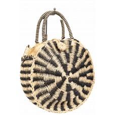 На фото 1 - Круглая плетеная сумка из соломы, цвет бежевый с черным